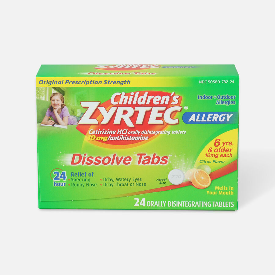 Children's Zyrtec 10mg Dissolve Tabs, Citrus Flavor, 24 ct, , large image number 0
