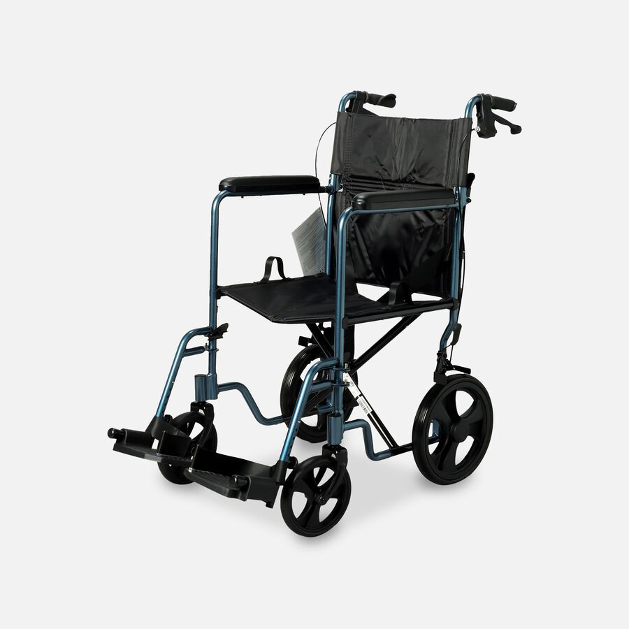 Nova Lightweight Transport Chair with Hand Brakes, Blue, , large image number 0