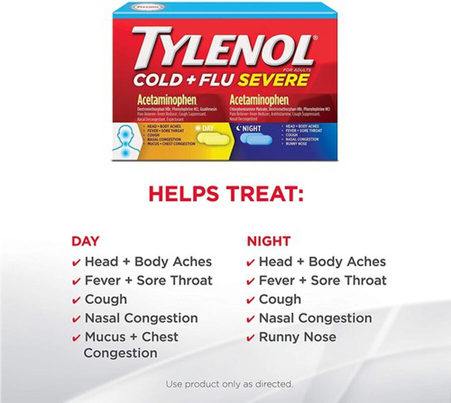 Tylenol Cold + Flu Severe Day & Night Caplets for Fever, Pain, Cough & Congestion Relief, 24 ct., , large image number 3