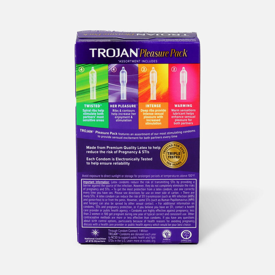Trojan Lubricated Latex Condoms, Pleasure Pack, 12 ea, , large image number 1