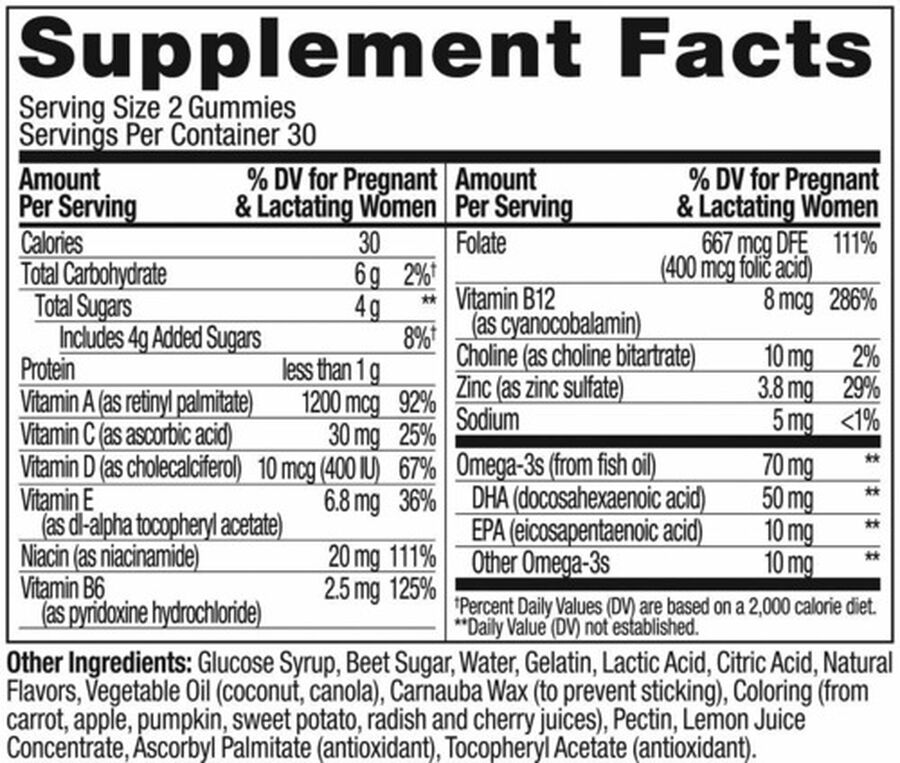 OLLY The Essential Prenatal Gummy Multivitamin, Sweet Citrus, 30 Day Supply, 60ct, , large image number 4