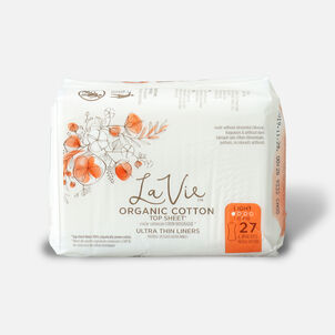La Vie Organic Cotton Top Sheet Ultra-Thin Pads with Wings, Regular, 16ct