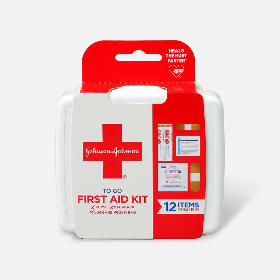 Johnson & Johnson First Aid To Go! Essential Emergency First Aid Travel Kit, 12 pieces, , large image number 0