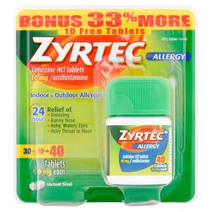 Zyrtec Adult Allergy Relief, 10mg, 40 ct