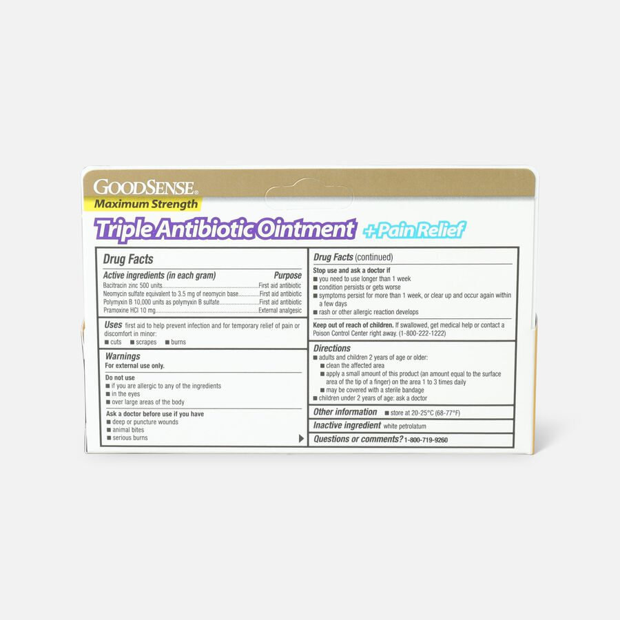 GoodSense® Max Strength Triple Antibiotic Ointment+ Pain Relief, 1 oz, , large image number 2