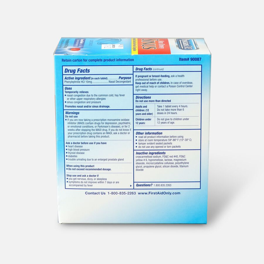 PhysiciansCare Sinus Decongestant, Phenylephrine HCl 10mg, 50ct , , large image number 1