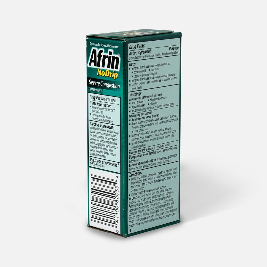 Afrin No Drip Severe Congestion Pump Nasal Mist, 0.5 oz, , large image number 3