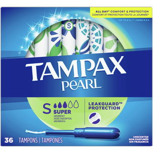 Tampax Pearl Tampons with BPA-Free Plastic Applicator and LeakGuard Braid, Unscented