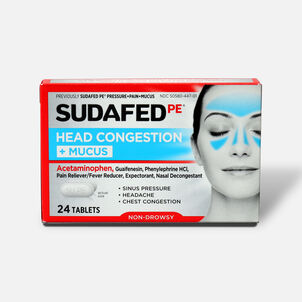 Sudafed PE Sinus Head Congestion + Mucus Non-Drowsy Tablets 24 ct
