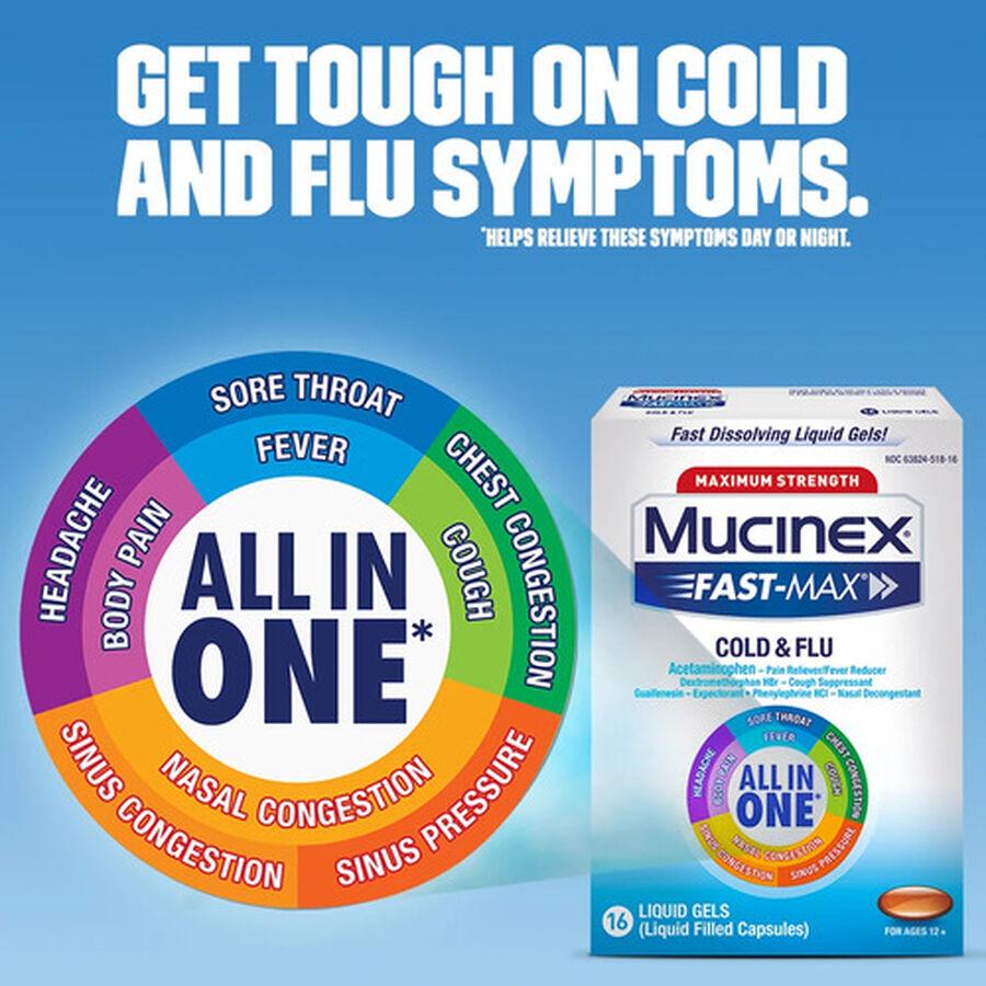 Mucinex Fast-Max Liquid Gels Cold and Flu, 16 ct, , large image number 4