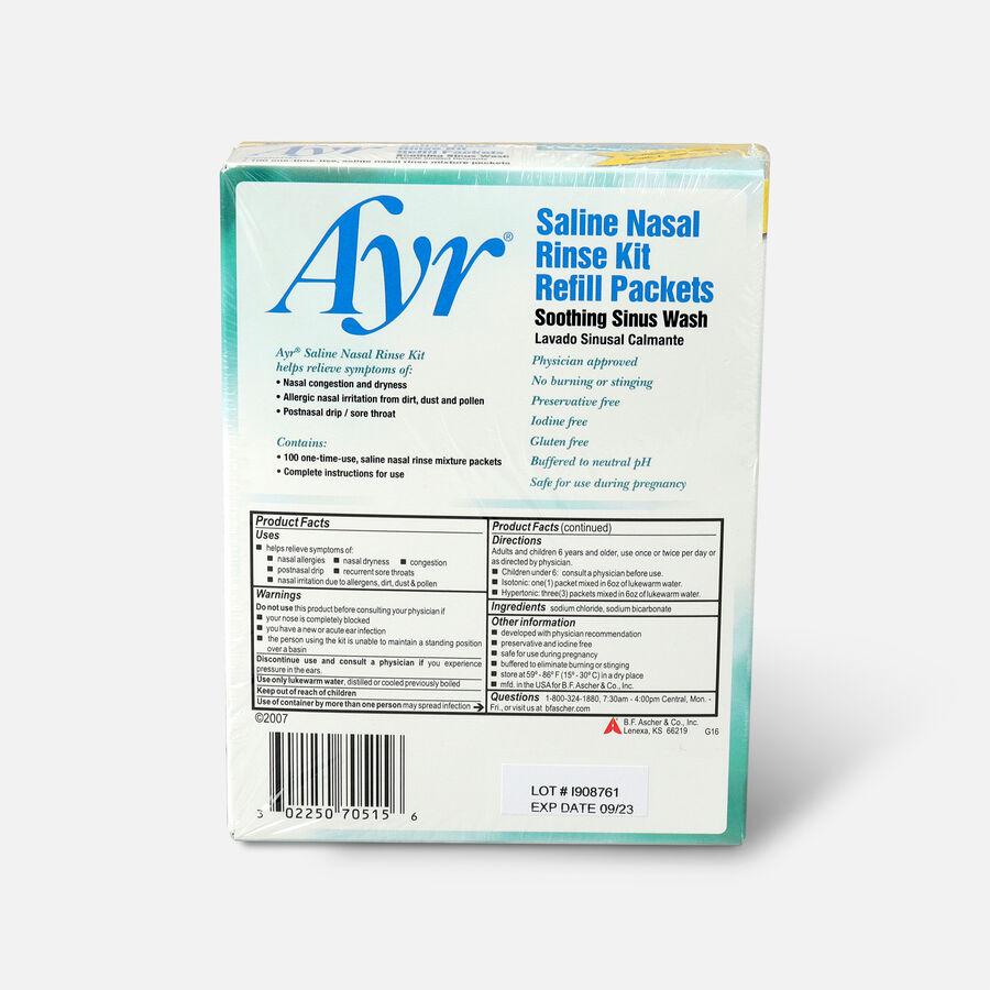 Ayr Saline Nasal Rinse Kit Refill Packets, 100 ea, , large image number 1