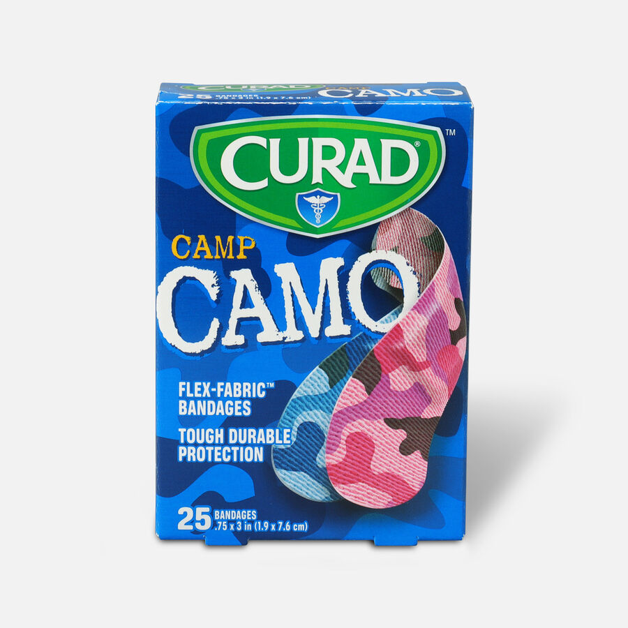 Curad Camouflage Pink/Blue Adhesive Bandages, 25 ea, , large image number 0