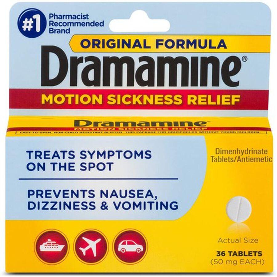 Dramamine Motion Sickness Relief Tablets, Original Formula, 36 ct, , large image number 0
