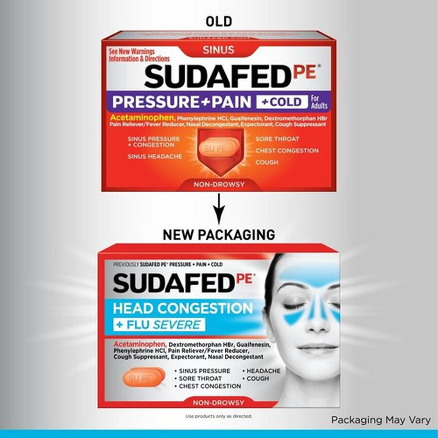 Sudafed PE Sinus Head Congestion + Flu Severe Non-Drowsy Tablets 24 ct, , large image number 2
