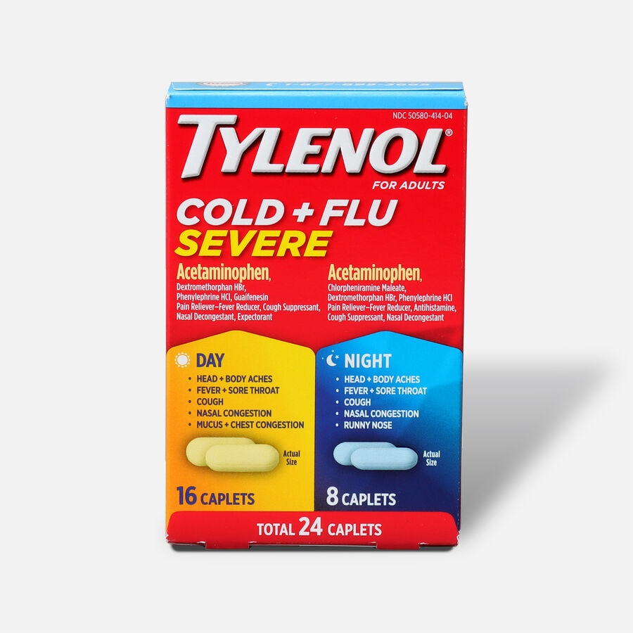 Tylenol Cold + Flu Severe Day & Night Caplets for Fever, Pain, Cough & Congestion Relief, 24 ct., , large image number 0