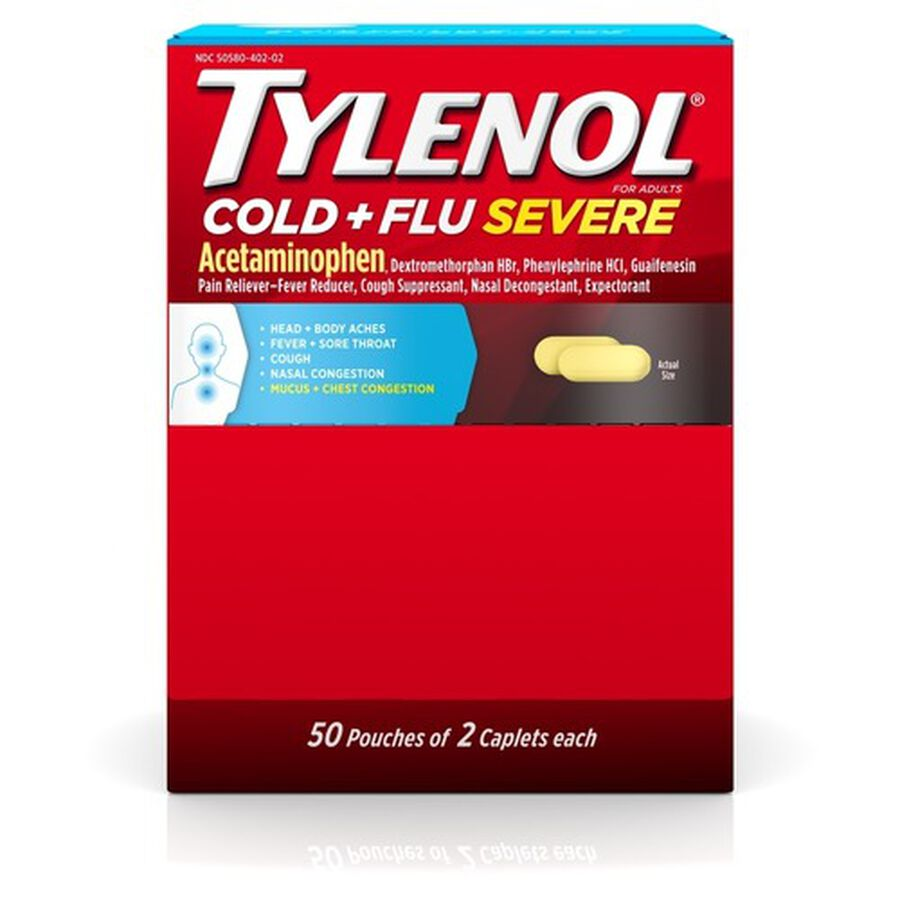 Tylenol Cold + Flu Severe Medicine Caplets, 50 pouches of 2 ct., , large image number 0