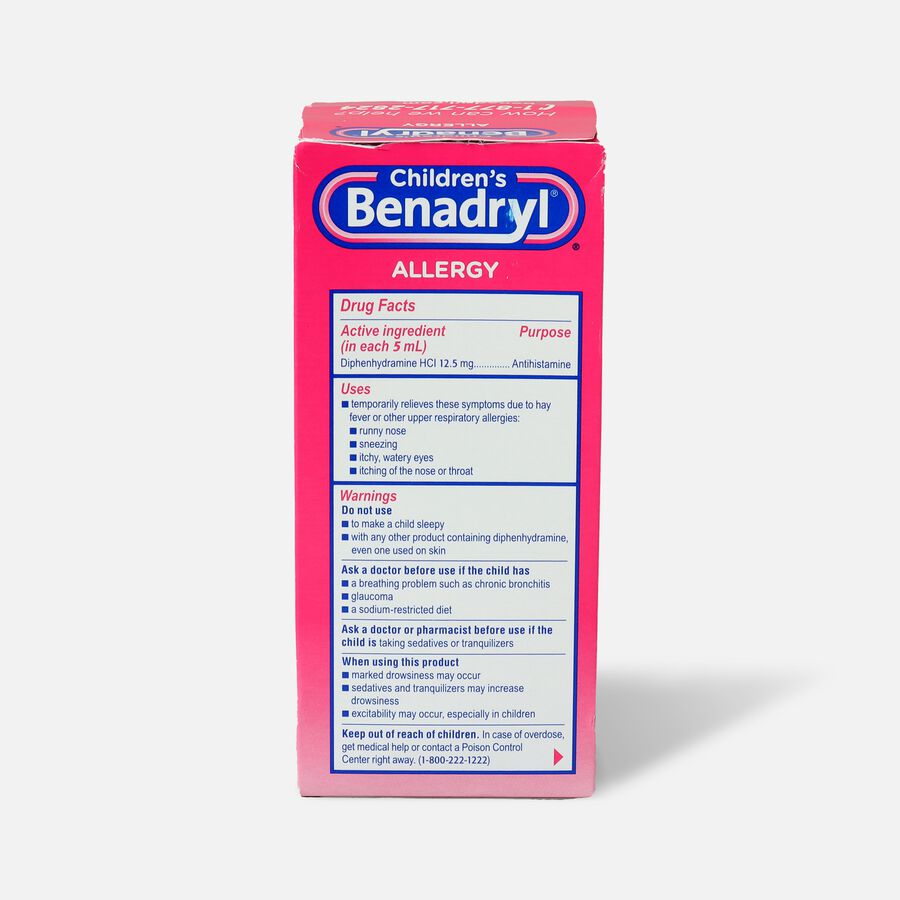 Children's Benadryl Oral Solution, Cherry Flavored, 8 fl. oz., , large image number 1