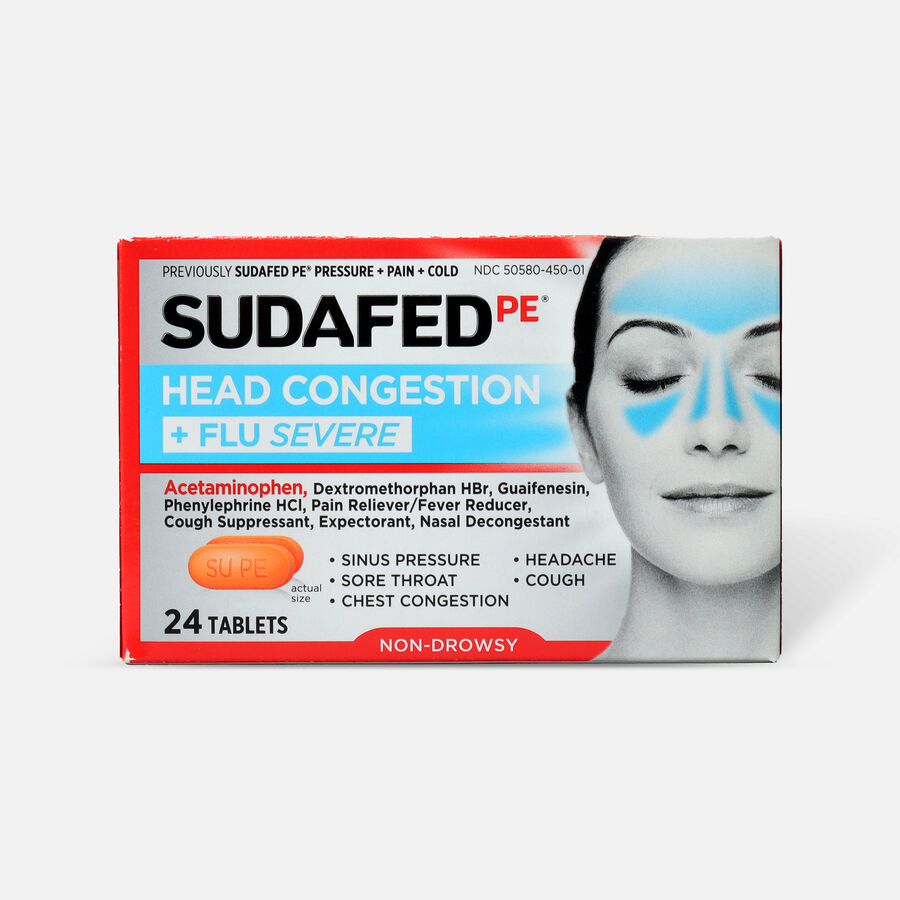 Sudafed PE Sinus Head Congestion + Flu Severe Non-Drowsy Tablets 24 ct, , large image number 0