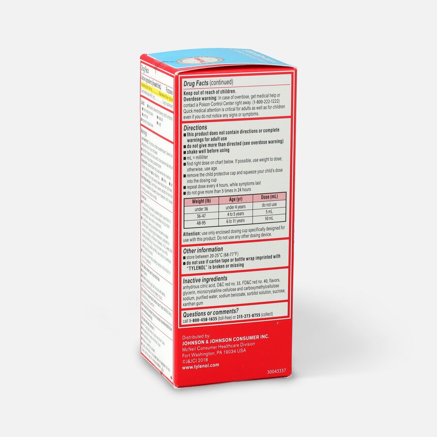 Children's Tylenol Cold + Cough + Sore Throat, Bubblegum Flavor, 4 fl oz, , large image number 3