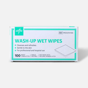"""Medline® Industries Wash-up Wet Towelettes, 5"""" x 7"""", Box of 100"""
