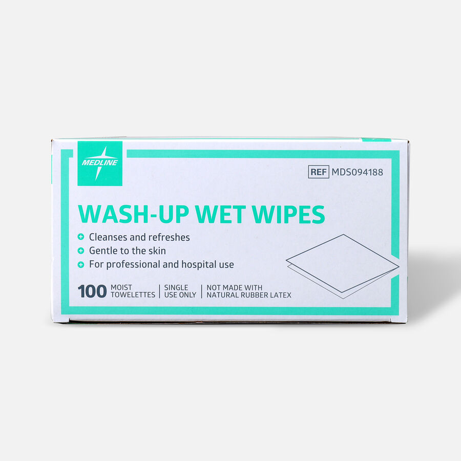 "Medline® Industries Wash-up Wet Towelettes, 5"" x 7"", Box of 100, , large image number 0"