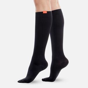 VIM & VIGR Moisture-Wick Nylon Socks, Solid Black, Wide Calf, 30-40 mmHg