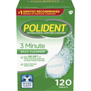 Polident 3 Minute Antibacterial Denture Cleanser Tablets - 120ct.