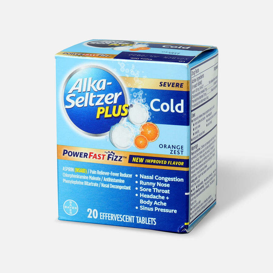 Alka-Seltzer Plus Cold PowerFast Fizz, Effervescent Tablets, Orange Zest, 20ct, , large image number 2