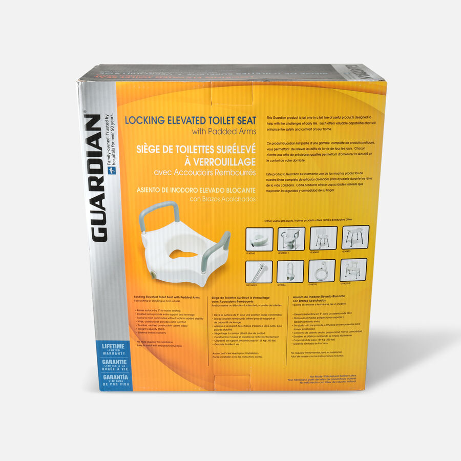 Guardian Locking Raised Toilet Seat with Arms, , large image number 1