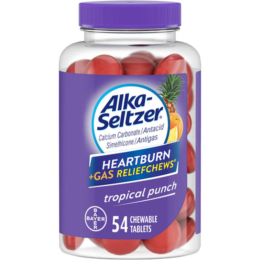 Alka-Seltzer Relief Chews Heartburn + Gas Tropical Punch, 54 ct, , large image number 0