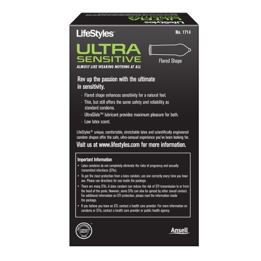 LifeStyles Ultra Sensitive Latex Condoms, 14 Count, , large image number 1