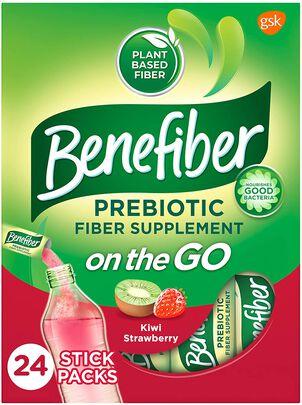 Benefiber On The Go Prebiotic Daily Fiber Supplement Powder Sticks, For Digestive Health, Kiwi Strawberry Flavor, 24 ct