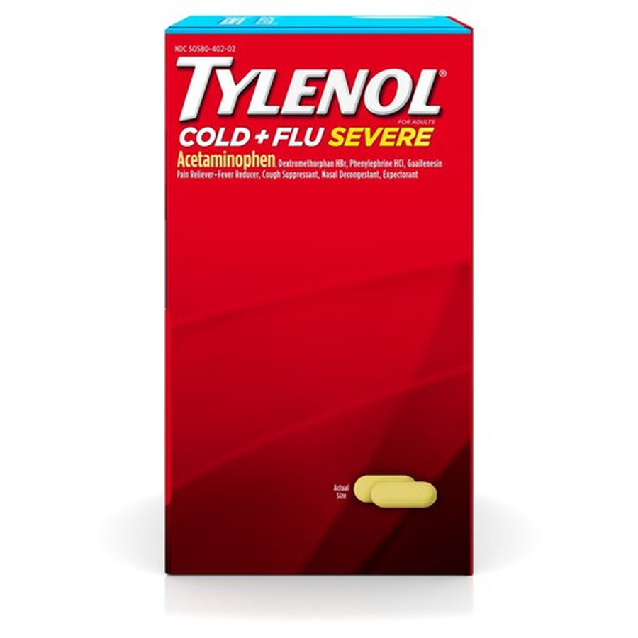 Tylenol Cold + Flu Severe Medicine Caplets, 50 pouches of 2 ct., , large image number 3