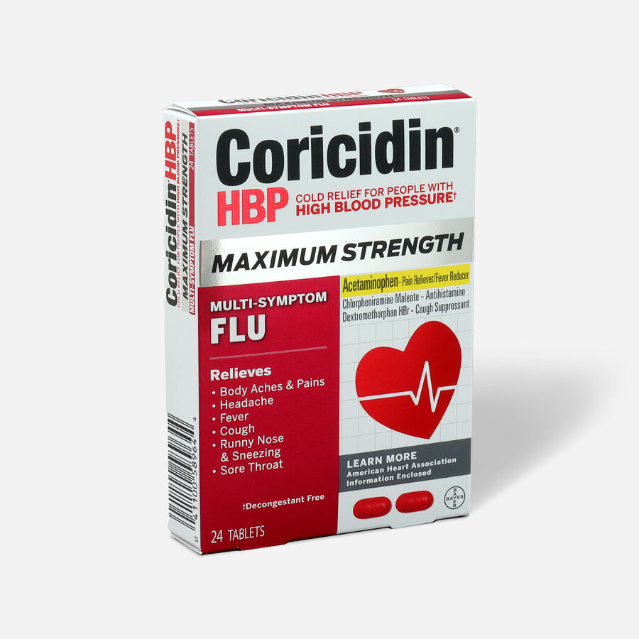 Coricidin HBP Max Strength Multi-Symptom Flu Tablets, 24ct, , large image number 2