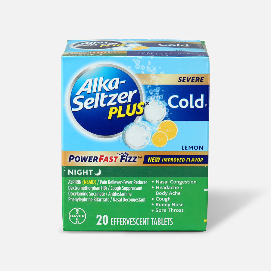 Alka-Seltzer Plus Cold PowerFast Fizz Night-time Effervescent Tablets, Lemon, 20ct, , large image number 0