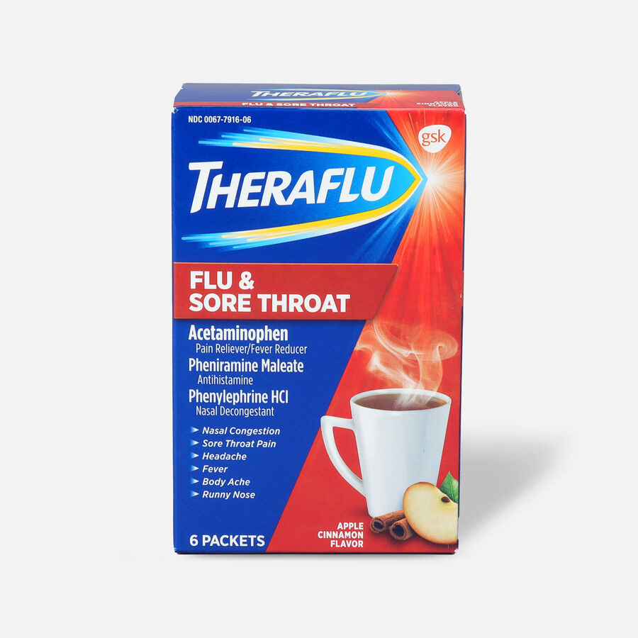 Theraflu Flu & Sore Throat Powder, Apple Cinnamon, 6 ct, , large image number 0