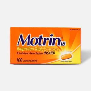 Motrin IB Ibuprofen Pain Reliever/Fever Reducer, 200 mg, Caplets, 100 ea