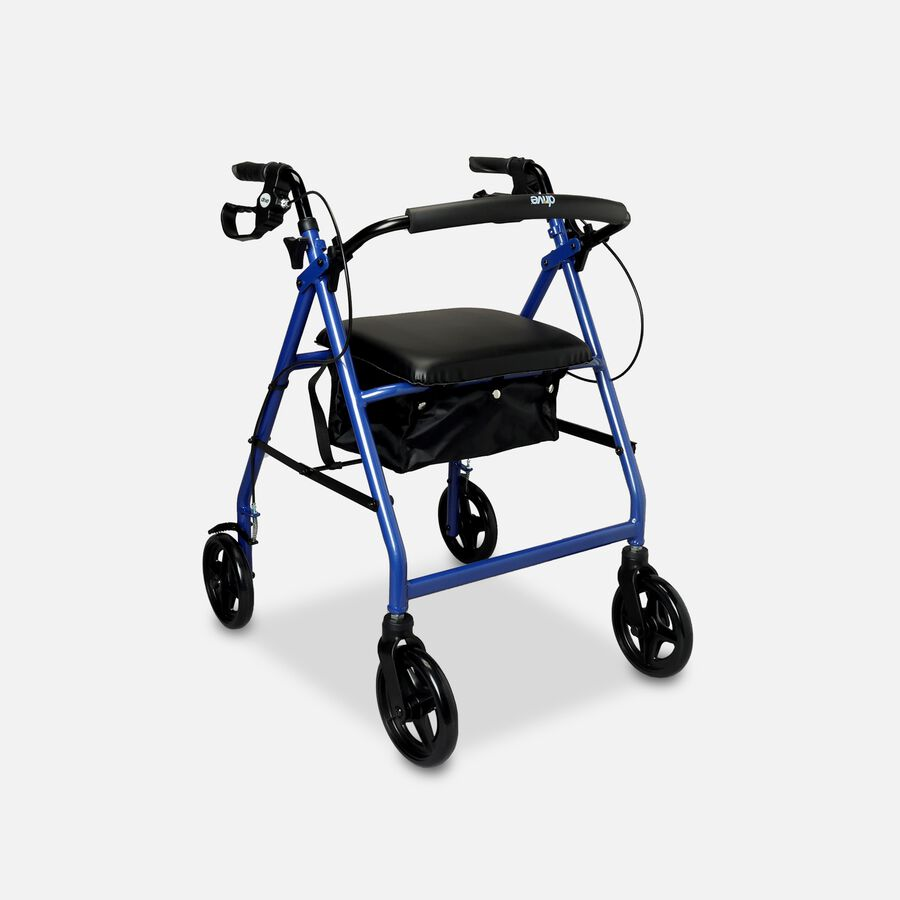 """Drive Aluminum Rollator with Fold Up and Removable Back Support, 8"""" Casters, Blue, , large image number 1"""