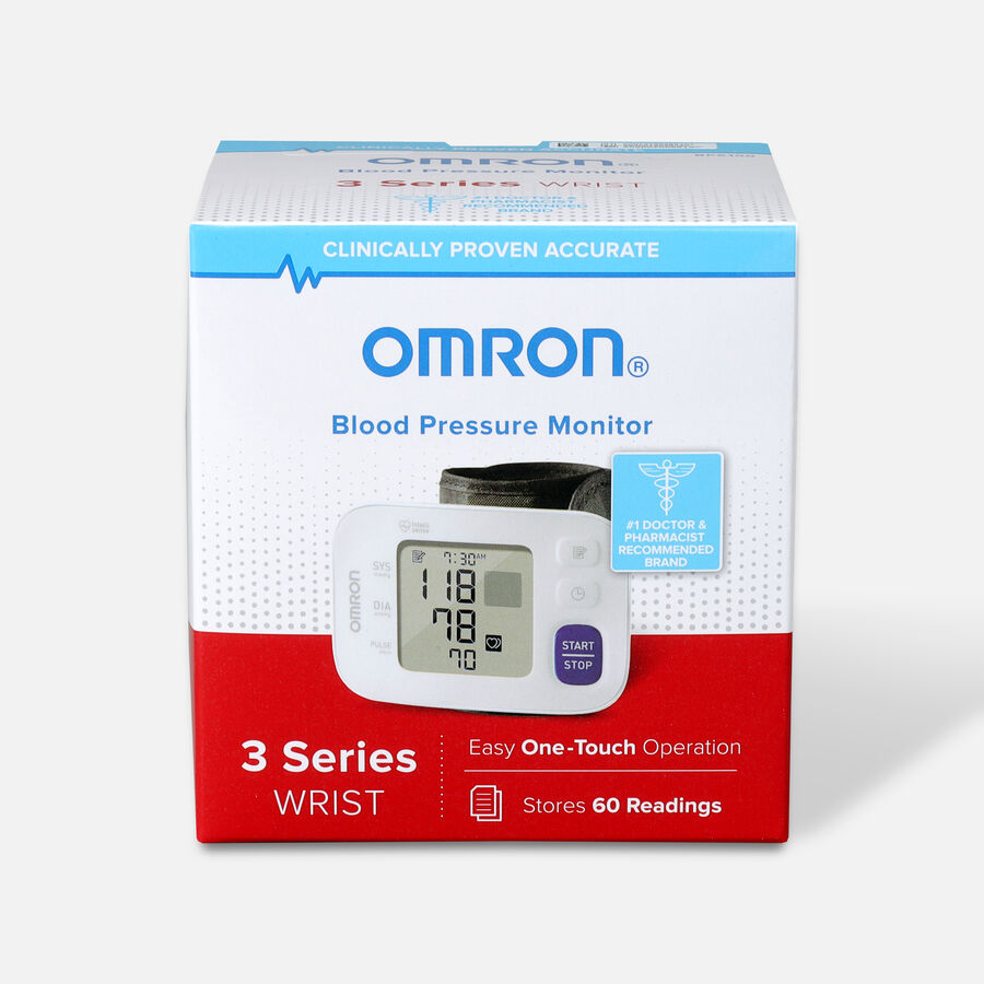 OMRON 3 Series Wrist Blood Pressure Monitor (BP6100); 60-Reading Memory with Irregular Heartbeat Detection, , large image number 0