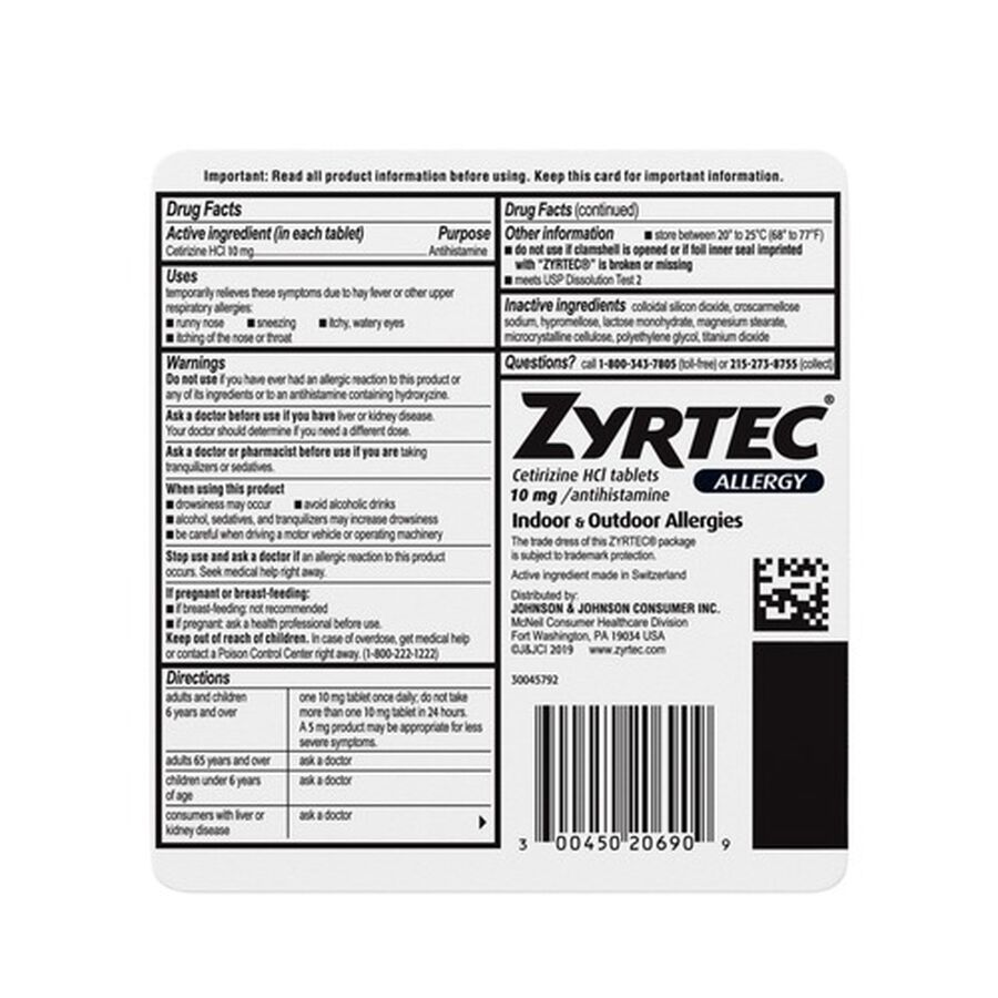 Zyrtec Adult Allergy Relief Tablets, 10mg, 90 ct, , large image number 1