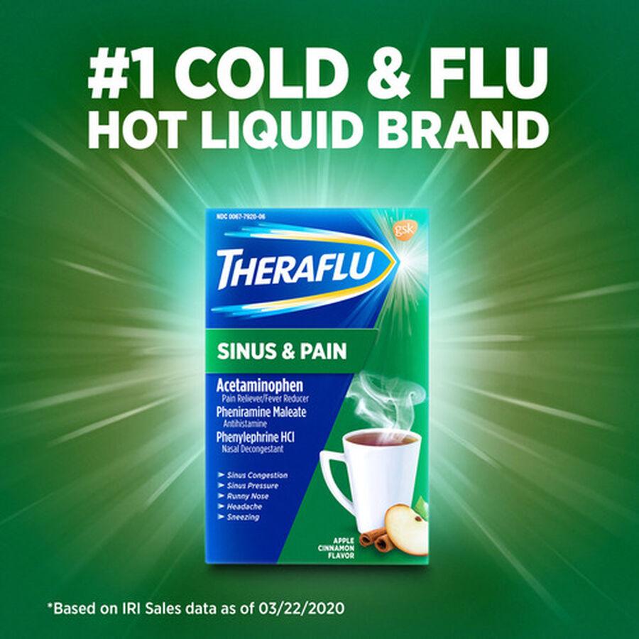 Theraflu Sinus & Pain Powder, Apple & Cinnamon, 6 ct, , large image number 5