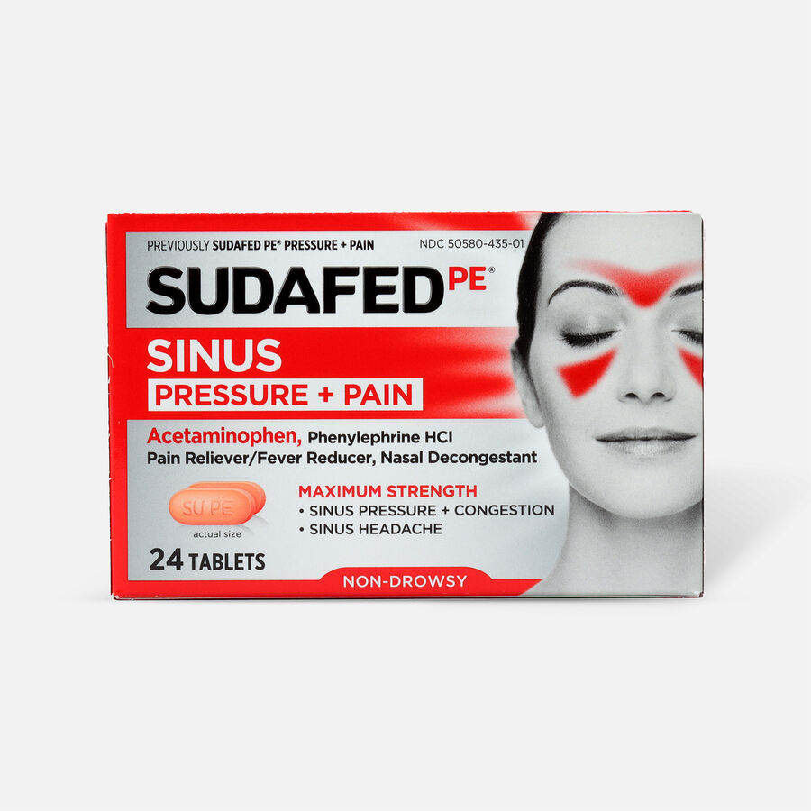Sudafed PE Sinus Pressure + Pain Max Strength Non-Drowsy Caplets 24 ct, , large image number 0