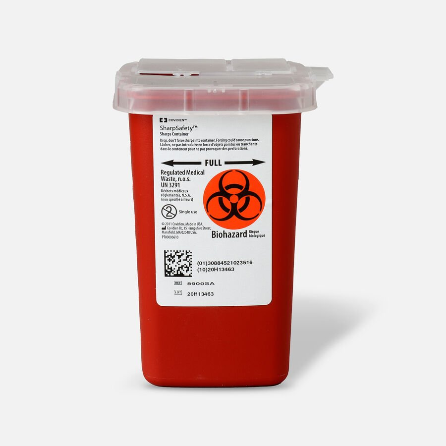Kendal 8900SA Sharps Container 1 Quart, Red, , large image number 0