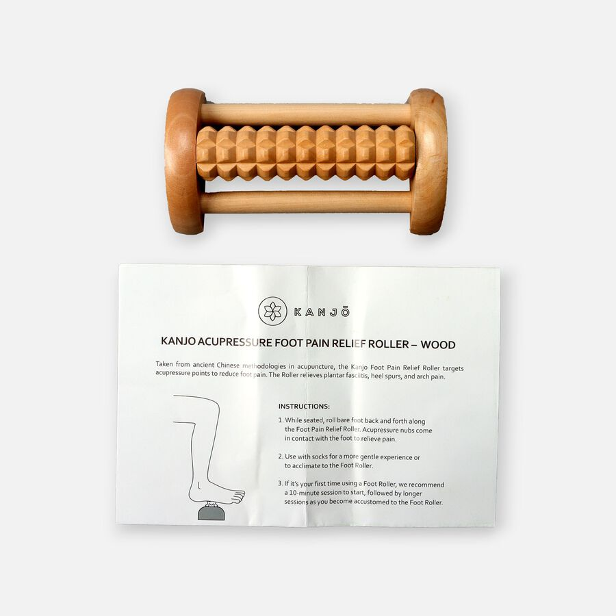 Kanjo Acupressure Foot Pain Relief Single Roller, Wood, Relieves Plantar Fasciitis, Heel & Arch Pain, , large image number 1