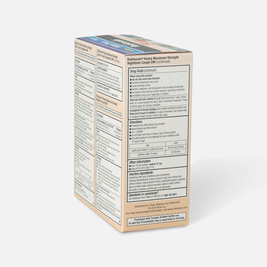 Robitussin Honey Adult Cough + Congestion DM & Nighttime Cough DM, 2 x 4oz Bottles, , large image number 3