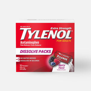 Tylenol Pain and Fever Powder Packs for Adults, Berry Flavor