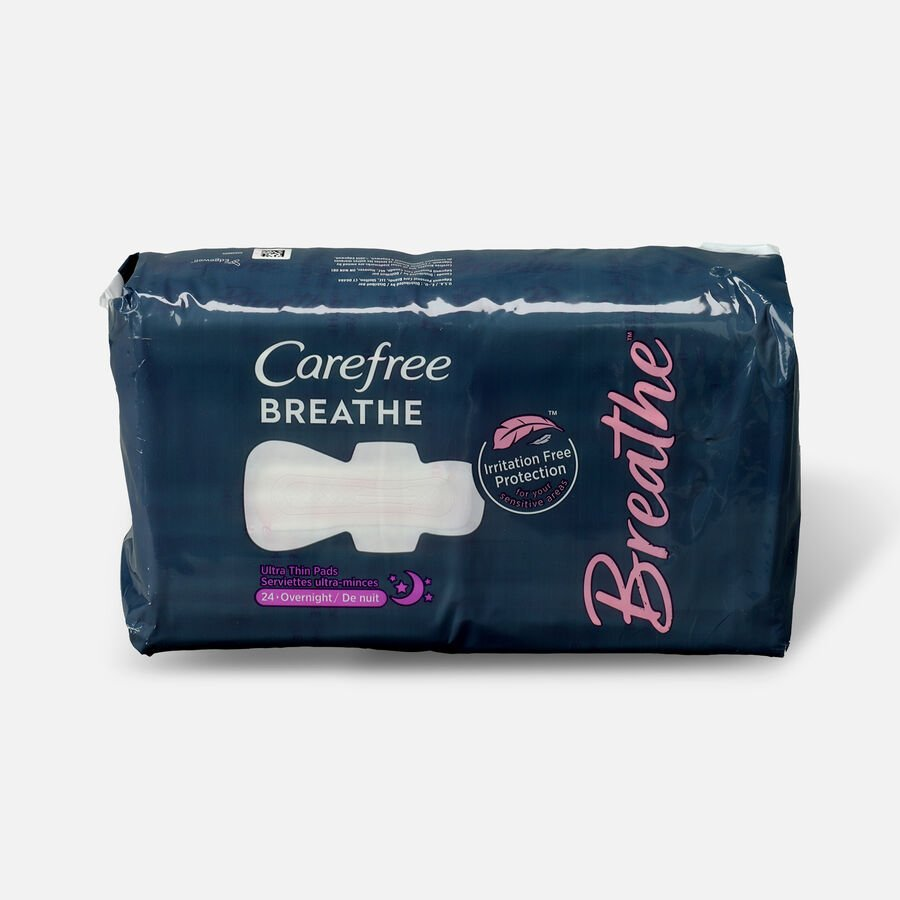 Carefree Breathe Ultra Thin Overnight Pads with Wings, 24ct, , large image number 0