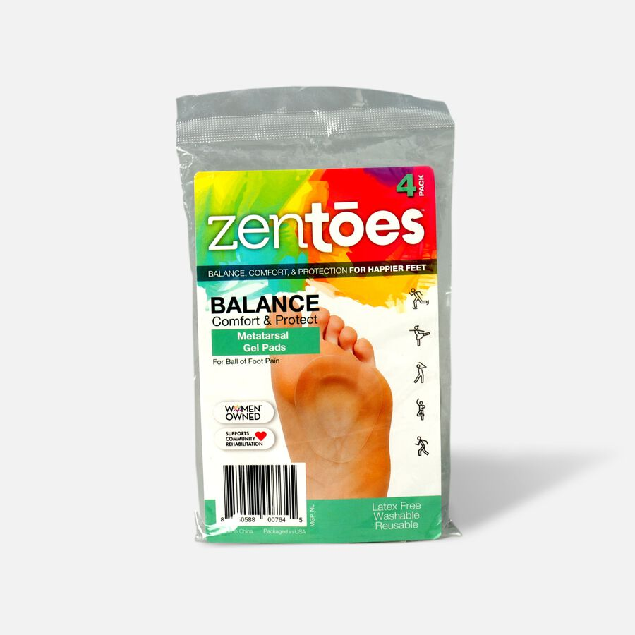 ZenToes Metatarsal Pad Gel Cushions, Adhere to Shoes - 4 Pack, , large image number 0