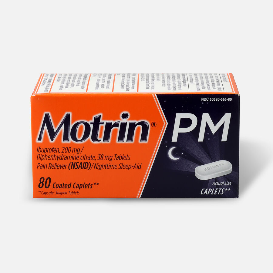 Motrin PM Pain Reliever/Nighttime Sleep-Aid Coated Caplets, 80 ct, , large image number 0