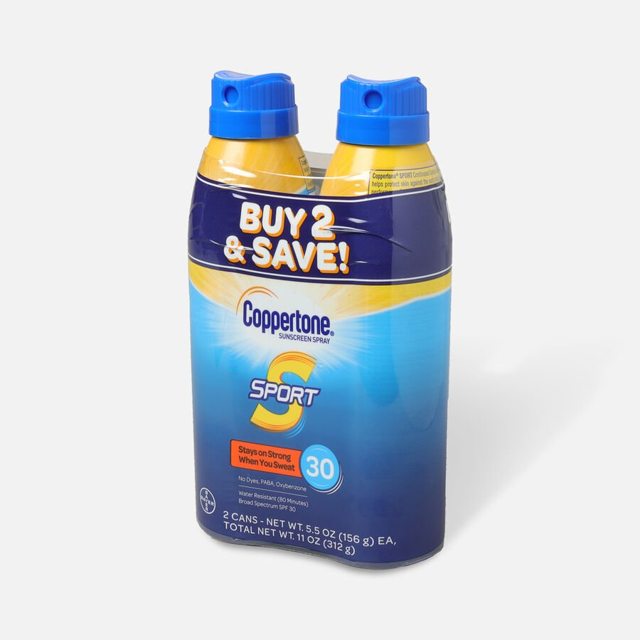 Coppertone Sport Sunscreen Spray SPF 30, Twin Pack, 5.5 oz each, , large image number 2